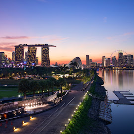 blue moment Singapore by Wei Jian Kent - City,  Street & Park  City Parks ( marina bridge, blue moment, cityscape, singapore, marina bay )