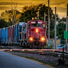 Sunset Crossing by Ron Meyers - Transportation Trains