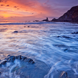 Hartland tide by Ian Pinn - Landscapes Beaches ( wave, tide, devon, sea, quay, beach, hartland, blue, orange. color )