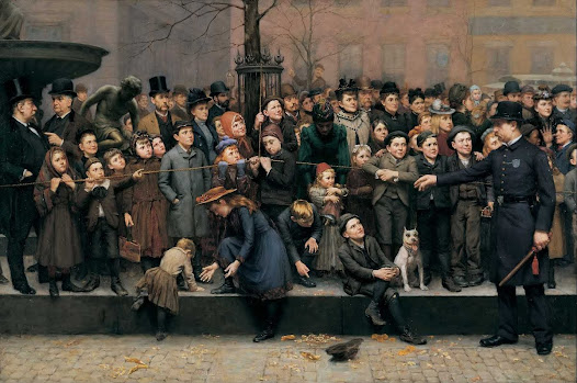Although the fountain is barely visible in this painting, its importance as a gathering place for Cincinnatians can be felt. The work was commissioned in 1892, by Cincinnati retailer Mabley & Carew Department Store, for their store window. The painting shows the faces of a crowd watching an annual pantomime show organized by Mabley & Carew. These performances, often based on fairy tales, included song, dance and comedic elements for families to enjoy together.
