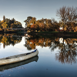A new kind of boat on my river by Oliver Švob - Transportation Boats ( korana, reflection, europe, croatia, canoe, boat, sony, tree, karlovac, autumn, fall, river side, river bank, river )