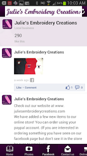 Julie's Embroidery Creations - screenshot