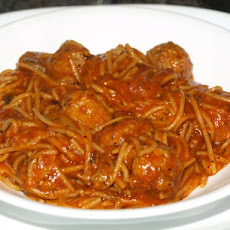 Rice Cooker Spaghetti With Meatballs