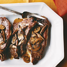 Pan-Seared Strip Steak with Mushrooms