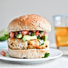 Tilapia Burgers with Watermelon Salsa + Avocado