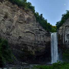 Taughannock Falls Moon by Linda Wyatt - Nature Up Close Rock & Stone ( moon, taughannock falls, gorge, state park, waterfall, evening, moonrise )