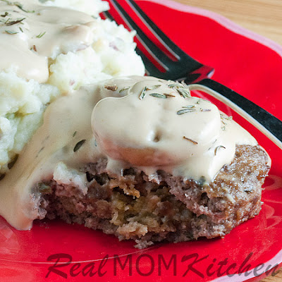 Stuffed Beef Patties with Mushroom Gravy
