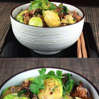 Food Gal's Stir-Fried Brussels Sprouts and Pork in Black Bean Sauce