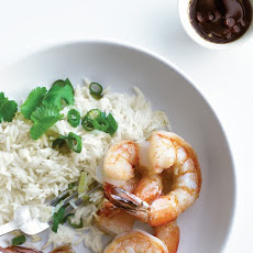 Sauteed Shrimp with Scallion Rice and Soy-Lime Sauce