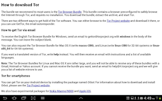 Screenshot of Tor Browser the Short Guide