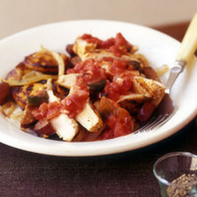 Smoky Chicken with Sweet Potatoes and Chorizo