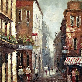 Loving narrow streets (big size) by Amas Art - Painting All Painting ( old, narrow, streets, brown, town )