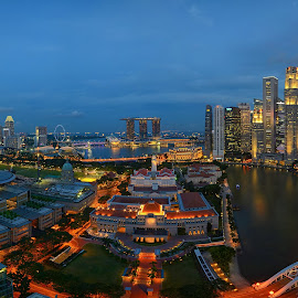 Vibrant City by Kafoor Sammil - City,  Street & Park  Skylines ( singapore parliament, mbs, singapore, vibrant city, raffles place, singapore court )