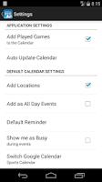 Screenshot of Sports Calendar