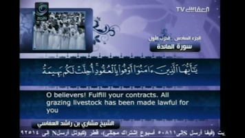Screenshot of Sheikh Mishary Al Afasy