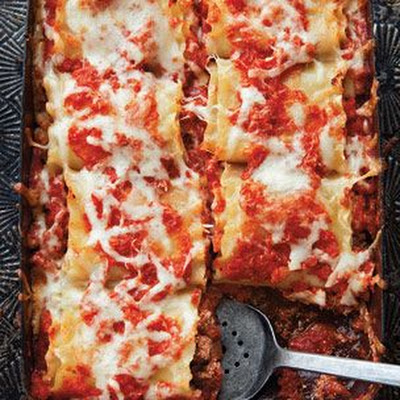 Beef, Basil and Goat Cheese Lasagna Roll-Ups