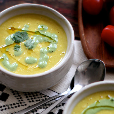 Cashew Corn Chowder with Cilantro Cream