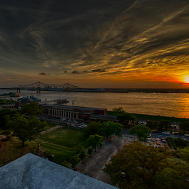 Baton Rouge Sunset by Sheldon Anderson - City,  Street & Park  Skylines ( clouds, water, sky, sunset, dramatic, river )