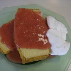 Papaya and Strawberry Coulis over Pound Cake