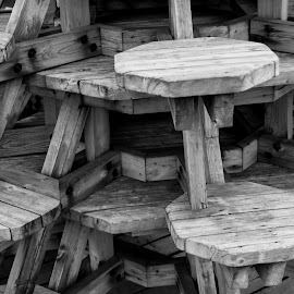 Tablestack by Rune Myreng - Abstract Patterns ( abstract, tables, stacked, black and white, norway,  )