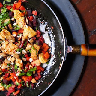 Smokey Chicken, Rainbow Vegetable Saute and Cruncy Almonds