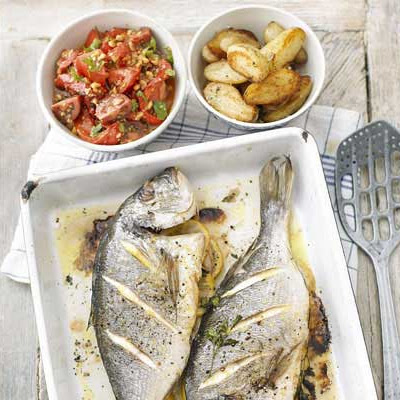 Roast Whole Fish With Salsa Romesco