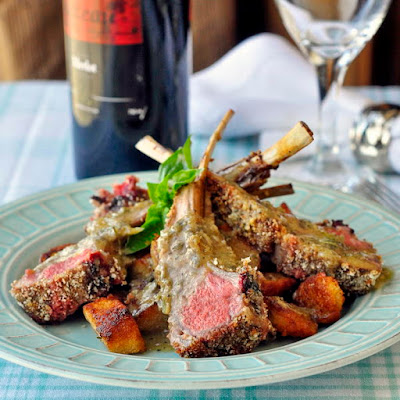 Parmesan Panko Crusted Rack of Lamb with Country Croutons and Rosemary Dijon Dressing