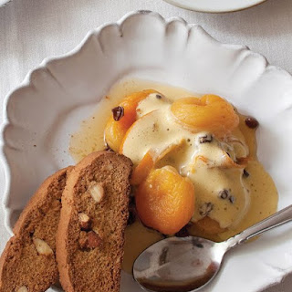 Poached Dried Apricots and Currants with Zabaglione