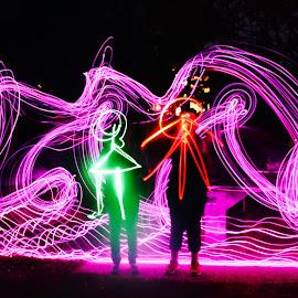 Light up the park .boy meets girl !!!  by Colette Edwards - Digital Art People ( creativity, lighting, art, artistic, purple, mood factory, lights, color, fun )