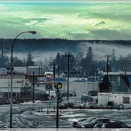 Campbell River Winter by Art Straw - City,  Street & Park  Street Scenes ( winter, snow, dusk, slush, gloomy )