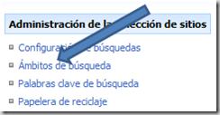 Ambitos de búsqueda en la configuración del sitio