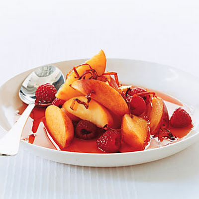 Peaches and Raspberries in Ancho Syrup with Chile Threads