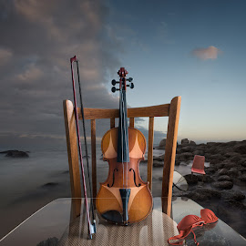 Perfect Tan by Mikhail Batrak - Digital Art Things ( digitalart, music, reflection, creative, table, seascape, beach, photo, digital, manipulation, erotic, magicrealism, chair, inspiration, violin, color, sunset, collage, surreal, conceptual, tan )
