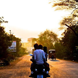 Life is like a Straight Road. Explore it till you can by Urmim Gogoi - Landscapes Travel ( friendship, travel, road, sunrise )