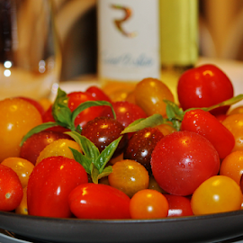 Tomatos by Priscilla Renda McDaniel - Food & Drink Fruits & Vegetables ( wine, heirloom, delicious, basil, tomatoes,  )