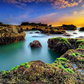 Mengening beach sunset by Didik Putradi - Landscapes Sunsets & Sunrises ( water, sunset, stone, beach, landscape )