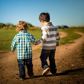 Best Buds by Mike DeMicco - Babies & Children Children Candids ( holding, little, kids, road, kid, friends, nature, family, fall, boys, friendship, childhood, walk, holding hands )