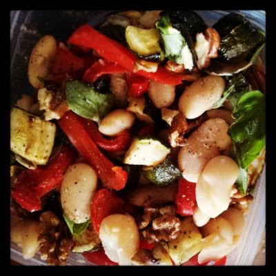 Butterbean, Walnut & Roast Med Veg salad dressed in lemon & fresh basil