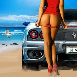Sexy Ferrari by Felix M - Digital Art People ( water, clouds, car, waves, ferrari, red heels, panties, sea, ocean, beach, red, girl, blue, sea gulls, b ehind, butt,  )