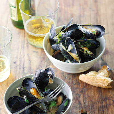 Mussels Steamed in Belgian Ale, Shallots & Herbs