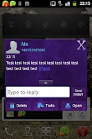 Screenshot of GO SMS Theme Dark Purple