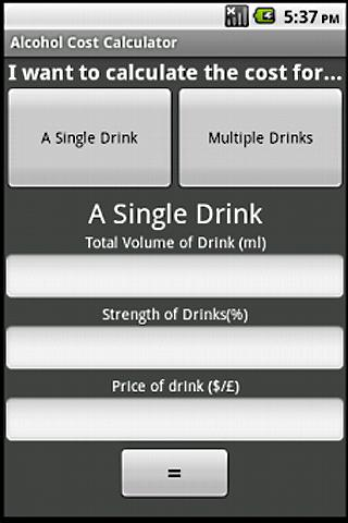 Alcohol Cost Calculator