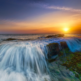 Lima by I Komang Windu - Landscapes Waterscapes ( canon, bali, sunset, lima beach, motion, landscape, light )