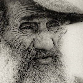 Portrait of an old man by Alexander Ivanov - People Portraits of Men ( old  man black white beard wrinkles whiskers,  )