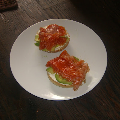 Cured Salmon, Avocado and Cream Cheese on a Bagel