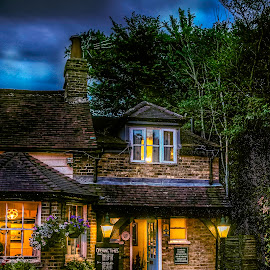 The Beehive Pub by Laura Prieto - Buildings & Architecture Other Exteriors ( english pub, hertfordhsire, paint with light, shops, pubs, reflections, dusk, rain )