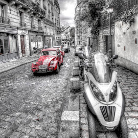 Paris - Montmartre colour pop 2 by Ben Hodges - City,  Street & Park  Neighborhoods ( paris, red, europe, car travel, hdr, montmartre, black & white, france, windmill )