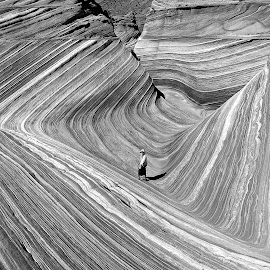 The Wave in Black and White by Tyrell Heaton - Black & White Landscapes ( black and whte, formations, wave, rock, landscape, people )