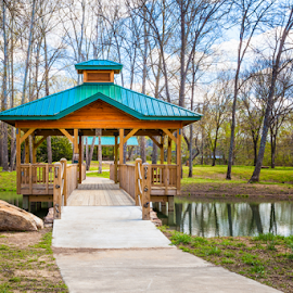 Gazebo and Lake by Jeff Beer - City,  Street & Park  City Parks ( blue sky, park, white clouds, reflections, lake, clinton, gazebo, spring, arkansas, city )