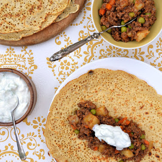 [Recipe 1] Keema aloo (spiced minced beef and potatoes) with gluten-free dosas